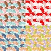 Colorful japanese fan seamless pattern — Stok Vektör