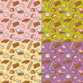 Vintage seamless texture with sweets — Stock Vector