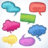 Colorful speech balloons in doodle style — Stock Vector