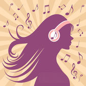 Girl silhouette with headphones, long hair and music — Stock Vector