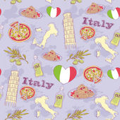 Italy travel grunge seamless pattern — Stock Vector
