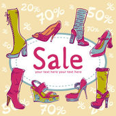 Sale discount shoes card — Stock Vector
