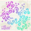 Stockvector : Floral twirl postcard on notebook background