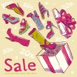 Sale postcard with shoes, box — Stockvector #10352198