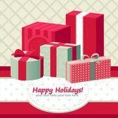 Un conjunto de cajas de regalo colorido para vacaciones — Vector de stock
