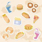快餐美味贴上球衣背景设置 — 图库矢量图片