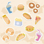 Fastfood delicious stickers set on grungy background — Stock Vector