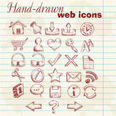 Hand drawn computer web icons on a grunge paper background — Stock Vector