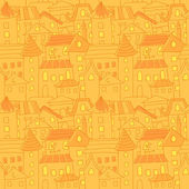 Retro style hand drawn city houses seamless pattern — Stock Vector