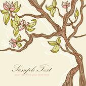 Beautiful blooming tree romantic postcard — Stock Vector