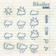 Retro weather icons hand drawn — ストックベクタ
