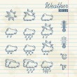 Retro weather icons hand drawn — Stok Vektör #10514310