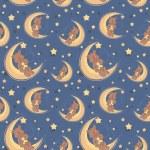 Teddy bear sitting on a moon seamless textile pattern — Stock Vector