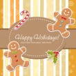 Christmas card with gingerbread man - Stock Vector