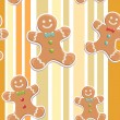 Stock Vector: Gingerbread mseamless Christmas pattern