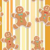 Gingerbread man seamless Christmas pattern — Stock Vector