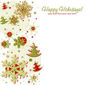 雪片で華やかなクリスマス カード — ストックベクタ
