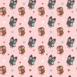 Royalty-Free Stock Vector Image: Valentine seamless texture with owls and hearts