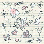 Doodle sevgililer — Stok Vektör