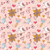 Älska smidig konsistens med blommor och fåglar — Stockvektor