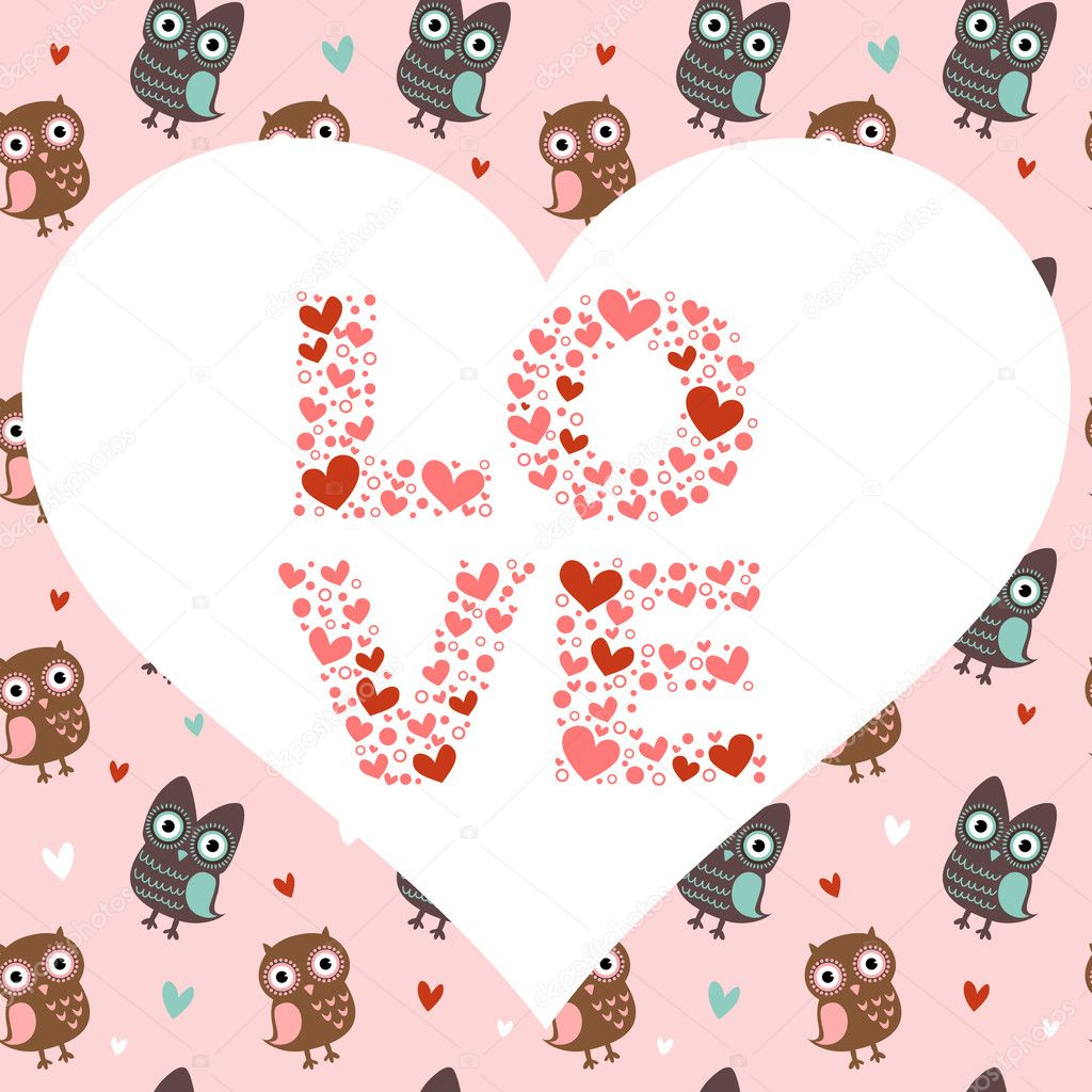 Valentine love card with cute romantic owls and hearts — Stock Vector #8344992