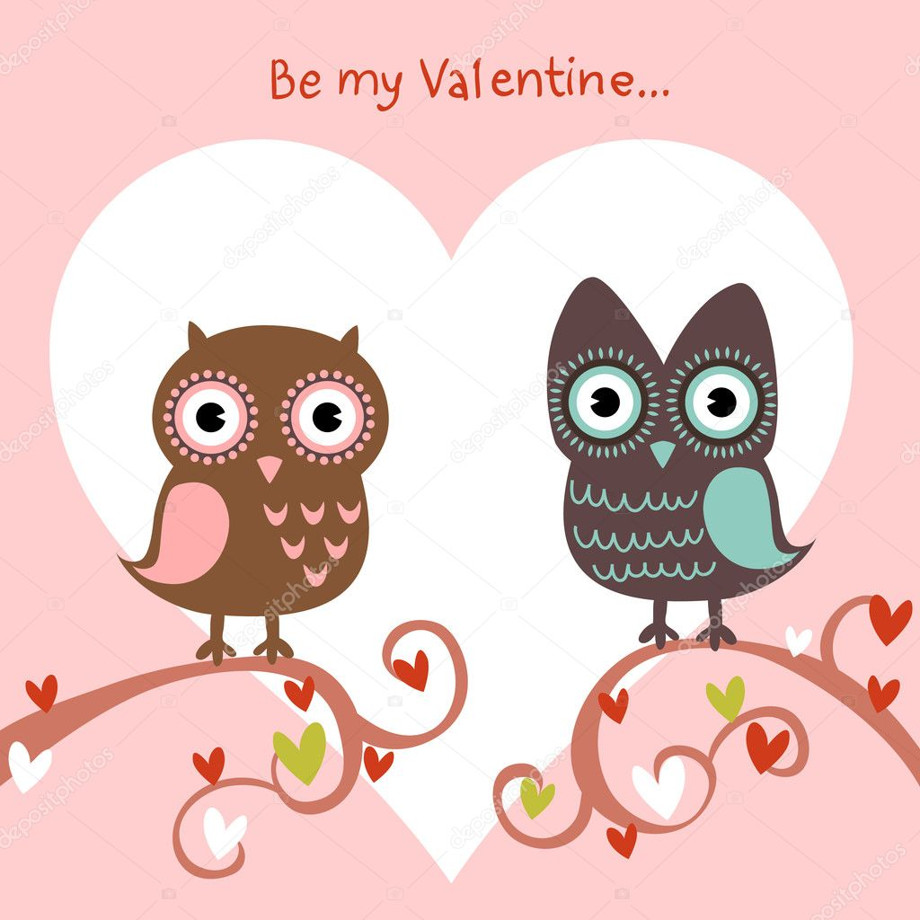 Valentine love card with cute romantic owls and hearts — Stock Vector #8345002