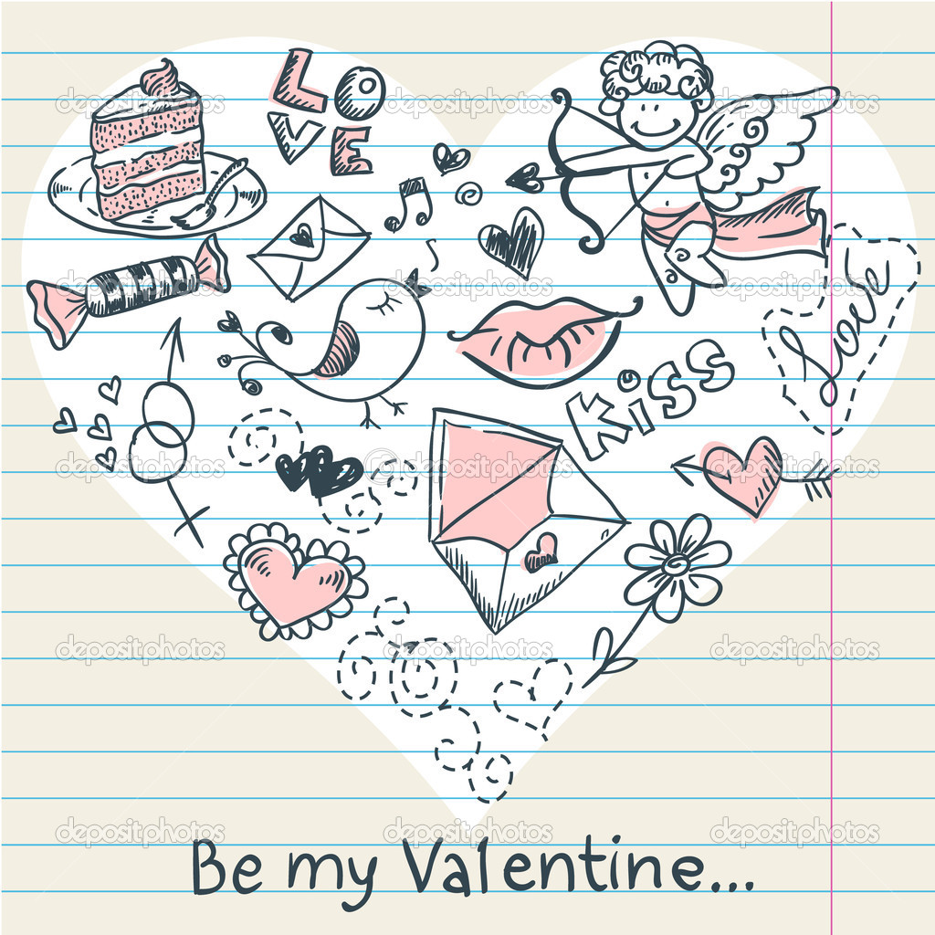 Doodle Valentine's day scrapbook love postcard with hand drawn sketches — Stock Vector #8345047