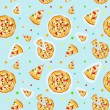 Seamless colorful cartoon pizza texture - Stock Vector