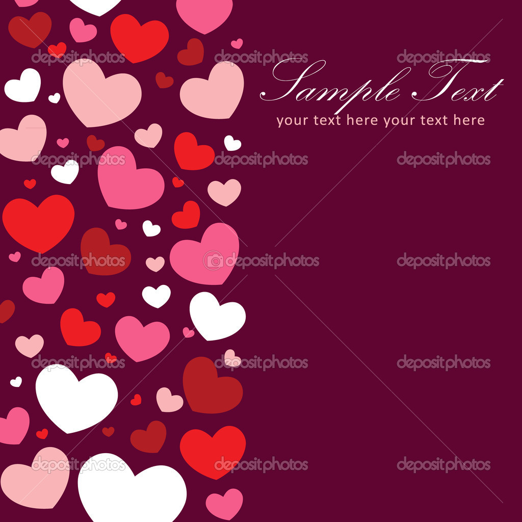 Cute Valentine love congratulation card with border of hearts  Stock Vector #8380909