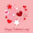 Valentine congratulation card with hearts - Stock Vector