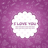 Doodle Valentine's day love postcard — Stock Vector