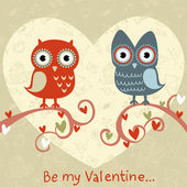 Valentine love card with owls and hearts — Vecteur