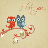 Valentine love card with owls and hearts — Vettoriale Stock