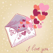 Love letter Valentine retro card - Stock Vector