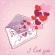 Love letter Valentine retro card — Stockvektor