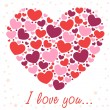 Valentine congratulation card with hearts — Stockvectorbeeld