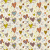 Cute doodle hearts seamless wallpaper — Stock Vector