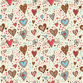 Cute doodle hearts seamless wallpaper — Stock Vector
