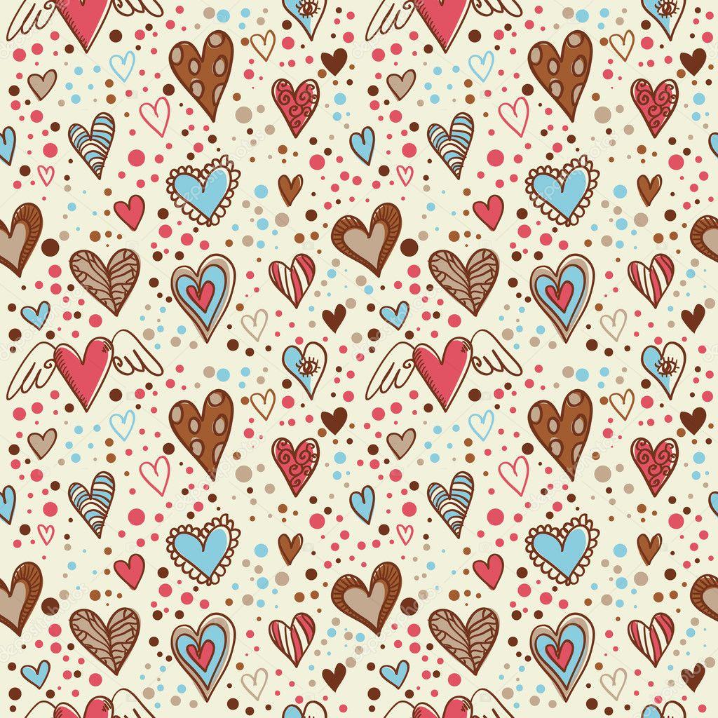 doodle lindo fondo de pantalla de corazones inconsútil — Vector ...