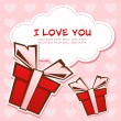 Love greeting card with gift boxes — Image vectorielle