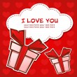 Love greeting card with gift boxes - Stock Vector