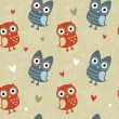 Valentine seamless texture with owls and hearts — Stock Vector