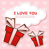 Love greeting card with gift boxes — Stock Vector
