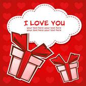 Liefde wenskaart met geschenkdozen — Stockvector