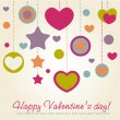Valentine congratulation card with hearts — Stock Vector #8513185
