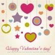 Valentine congratulation card with hearts — Stock Vector