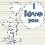 Card with cartoon boy and balloon — Stock Vector