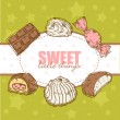 Retro card with tasty sweets — Stock Vector