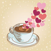 Hearts coffee cup greeting card — Stock Vector