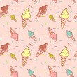 Stock Vector: Colorful melting ice-cream seamless pattern